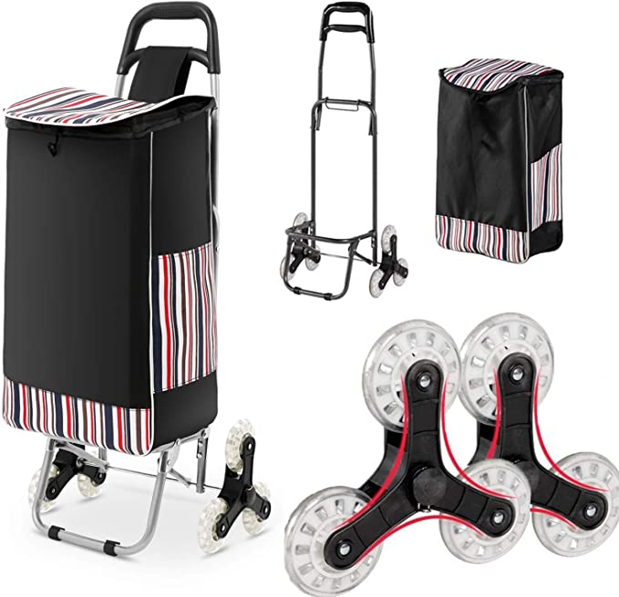 Color : #3 HTDZDX Shopping Cart 6 Wheel Folding Trolley Dolly Stair Climbing Grocery Cart with Wheel Bearings for Go Up and Down