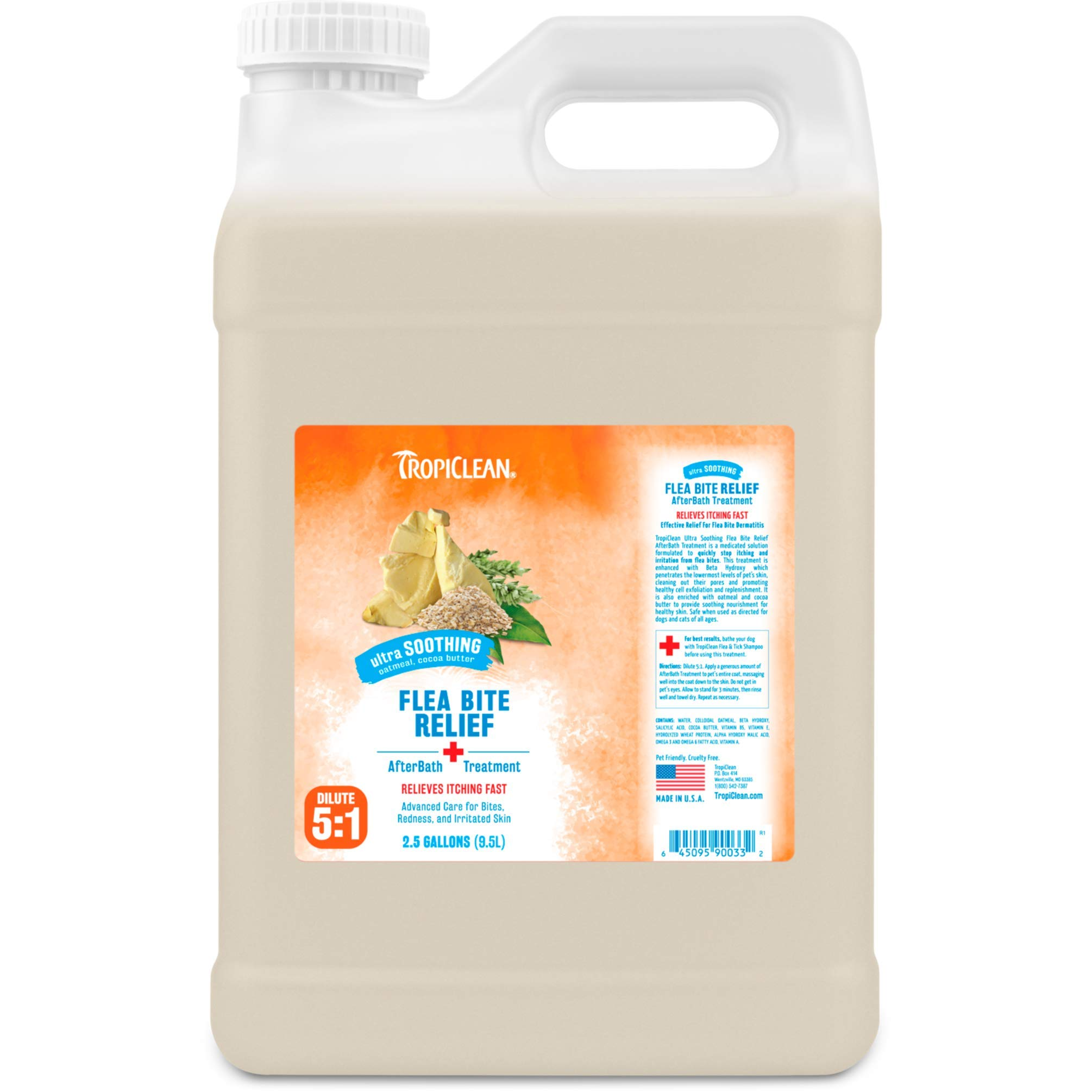 TropiClean Flea and Tick Bite Relief After Bath Treatment for Pets, 2.5 gal, Made in USA by TropiClean