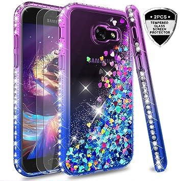 LeYi Compatible with Funda Samsung Galaxy A5 2017 Silicona Purpurina Carcasa con [2-Unidades Cristal Vidrio Templado],Transparente Cristal Bumper ...