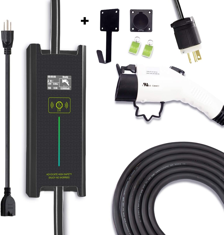 Megear Level 1/2 EV Charger(100-240V,25ft,6/8/10/12/16 Amp Adjustable) Portable EVSE Home Electric Vehicle Charging Stationwith Timer for Delay Charging(NEMA6-20/5-15 Plug)