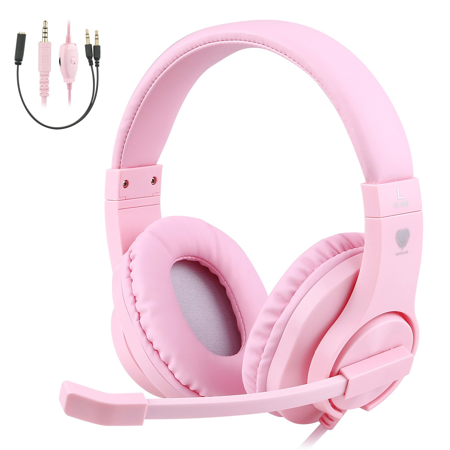 BlueFire 3.5mm PS4 Gaming Headset Bass Stereo Over-Ear Gaming Headphone with Microphone and Volume Control Compatible with PS4, New Xbox One, Xbox One S, Xbox One X, Nintendo Switch, PC(Pink) by BlueFire