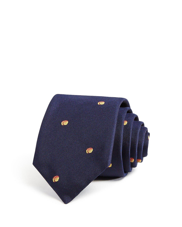 Paul Smith Men's Peach Skinny Silk Tie, OS, Navy