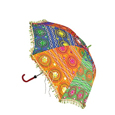 7874b498a0e73 Lalhaveli Embrodery Work Jaipur Handicraft Sun Kids Mini Fabric Umbrella  for Decoration 34 x 30