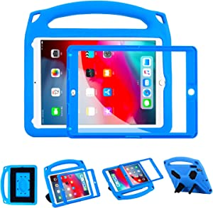 i-original Compatible with New iPad 9.7 Inch 2018/2017 EVA Shockproof Case for Kids Handle Cover, Multi-Angle Kickstand Light Weight EVA Protective Stand Bumper Cover with Screen Protector(Blue)