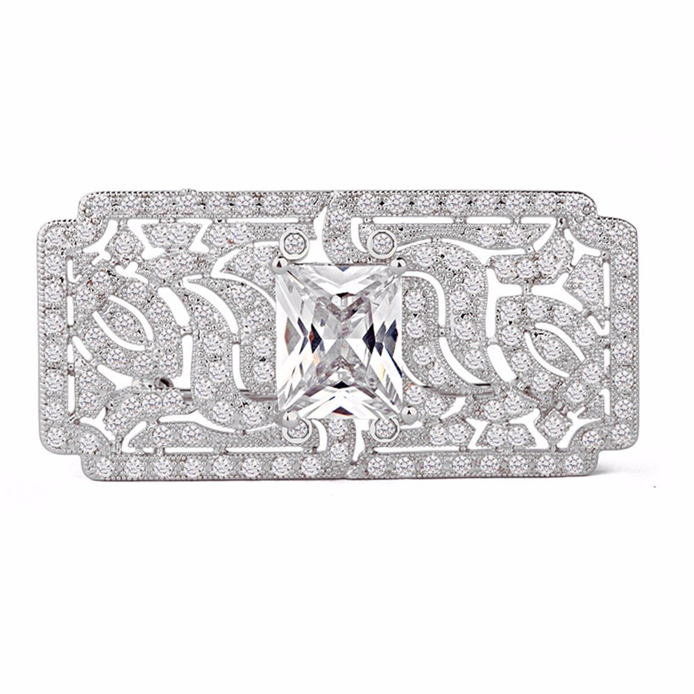 GULICX Wedding Vintage Art Deco Zircon Brooch Pin Silver Plated Base Bride Prom White Clear Accessory