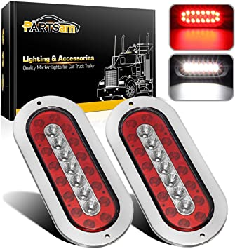 """4 6/"""" Oval Clear Red 10 LED w//Flange Mount Stop Turn Tail Brake Light Utility"""