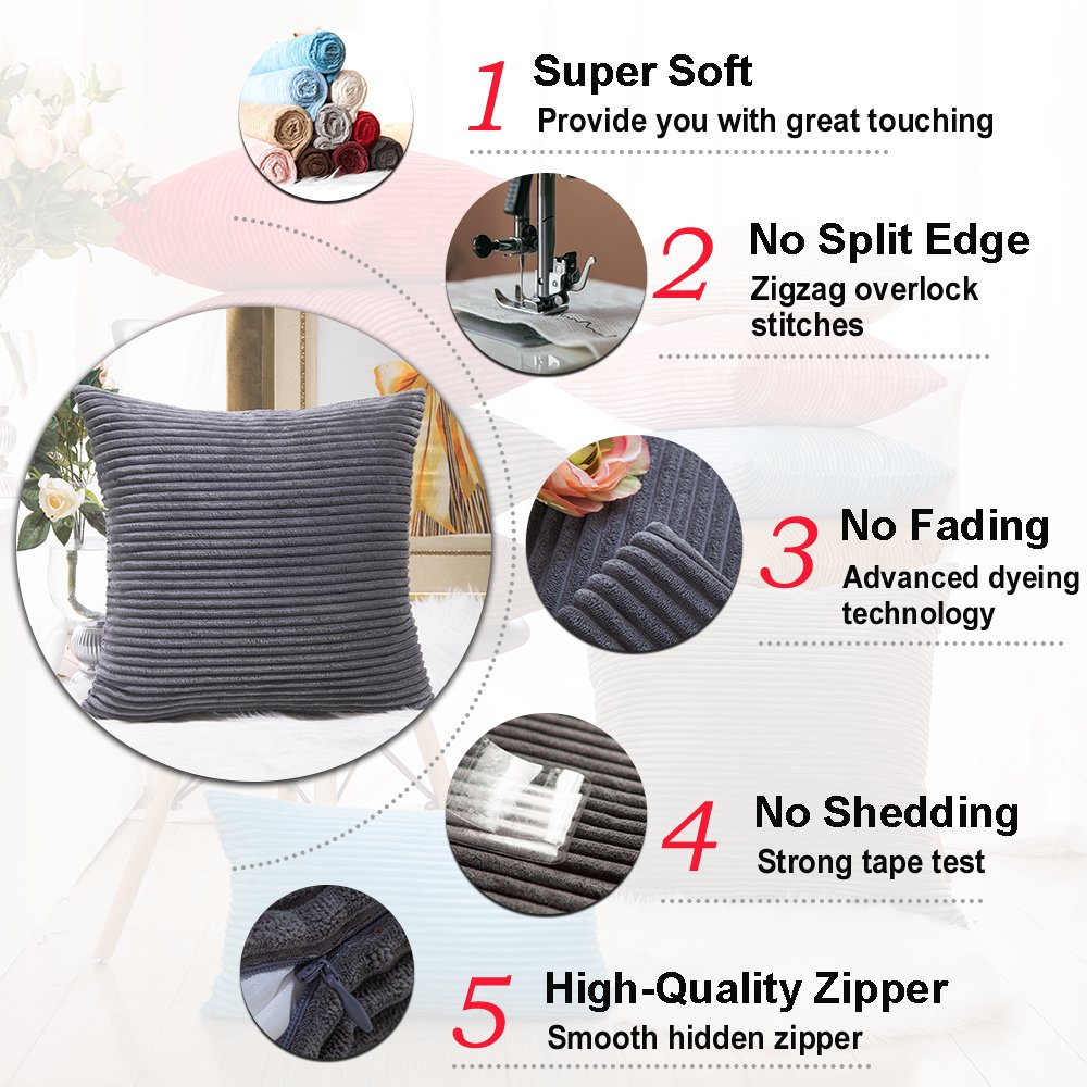 Home Brilliant Fall Decor Pillow Covers Soft Decorative Striped Corduroy Velvet Square Throw Pillow Sofa Cushion Covers Dark Grey