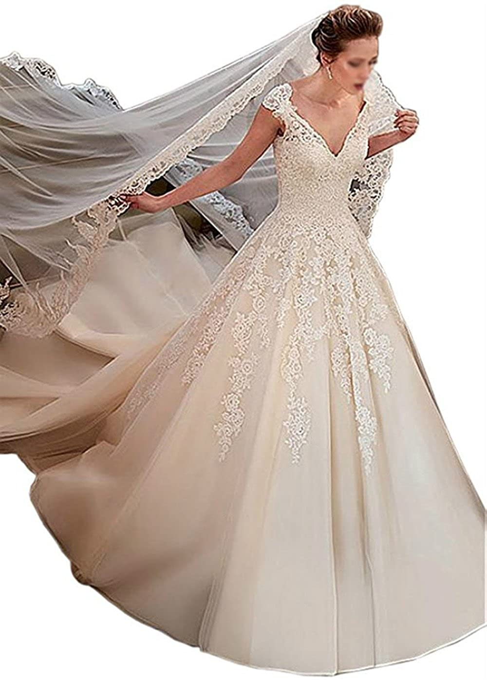 Vepycly Elegant Cap Sleeve V Neck Lace Appliques Ball Gown Wedding