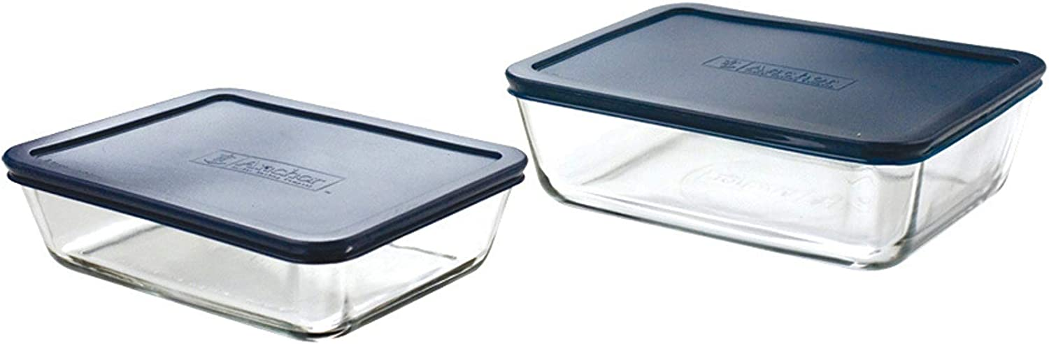 Anchor Hocking Classic Glass Food Storage Containers with Lids, Blue, 4-Piece Set