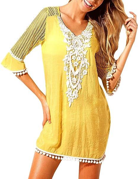 60dcdb5f0cb Amazon.com: Jevole Women's Chiffon Swimwear Bikini Cover Up Beach Dress Crochet  Tassel Pom Pom Trim Swimsuit: Clothing