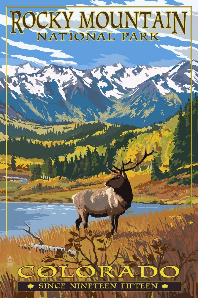 Fall and Elk Rocky Mountain National Park Colorado 12x18 Gallery Quality Metal Art