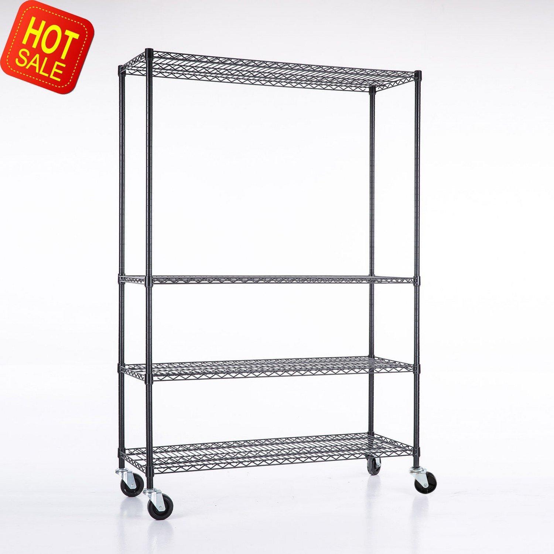 Adjustable Heavy Duty 4 Tier Shelving Rack Weight Capacity 200 Lbs. Steel Wire Metal Shelf New Okapi