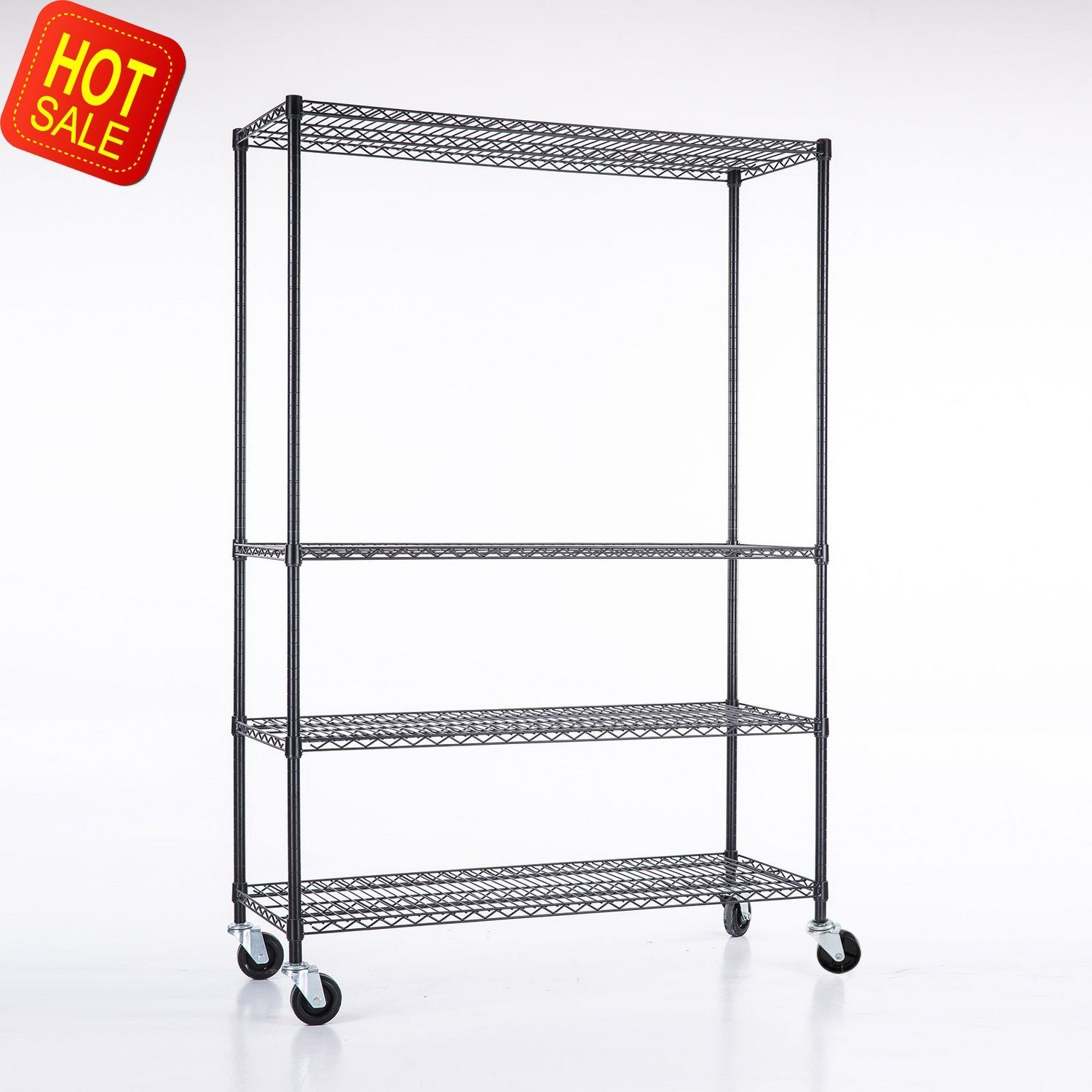 Adjustable Heavy Duty 4 Tier Shelving Rack Weight Capacity 200 Lbs. Steel Wire Metal Shelf New by Okapi (Image #1)