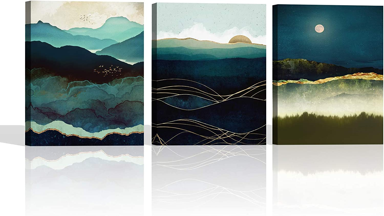 Abstract Geometric Canvas Wall Decor Green Mountains Wall Art Moonlight Nature Landscape Wall Art for Living Room Bathroom Home Decor