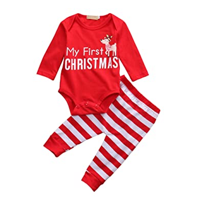 yobeyi sleepwear set my first christmas reindder romper onesie stripped pjsjammies