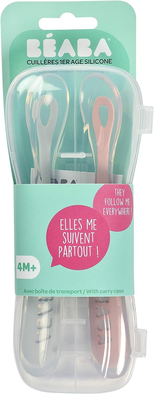 rosa palo//gris claro primera edad Juego 2 cucharas suaves de silicona con estuche B/éaba