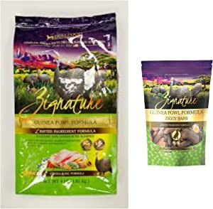 Zignature Guinea Fowl Dog Food 4 Pound Bag & Guinea Fowl (New) Ziggy Dog Treat Bars 12 Ounce Bag