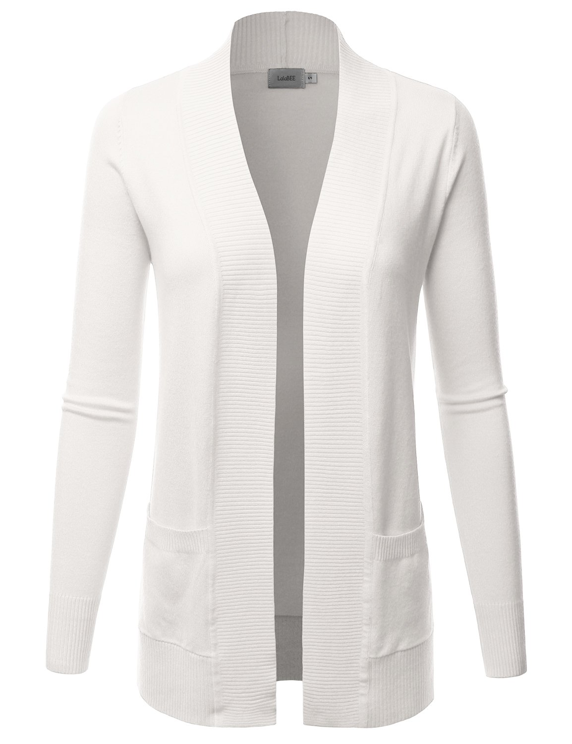 LALABEE Women's Open Front Pockets Knit Long Sleeve Sweater Cardigan-Ivory-L