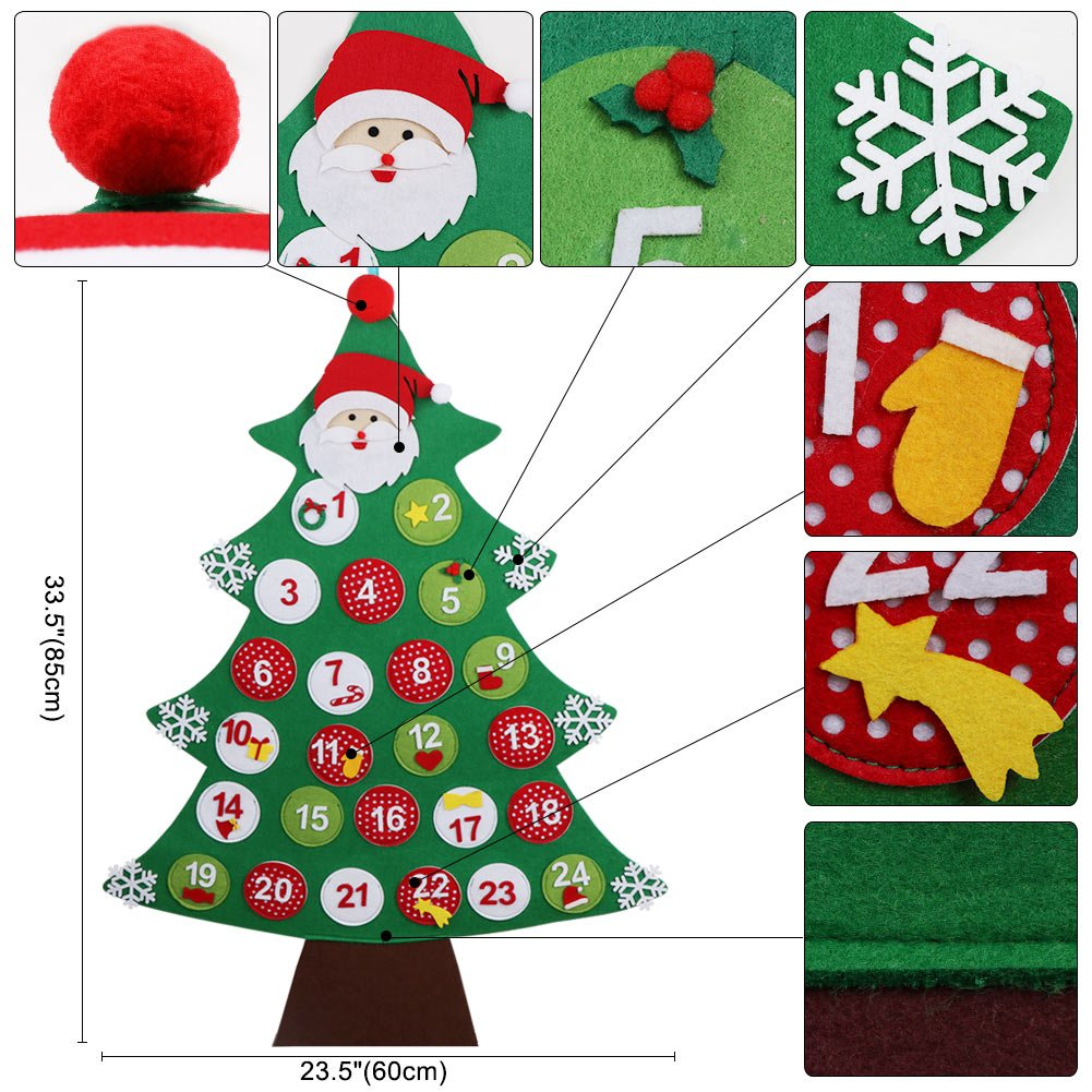 Amazon.com: Aytai Felt Christmas Tree Advent Calendar, Wall Hanging ...