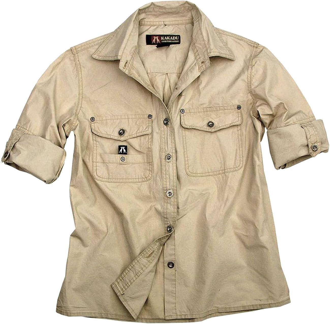 Guiran Camicia A Maniche Lunghe Cargo Uomo Camicia da Safari con Tasche