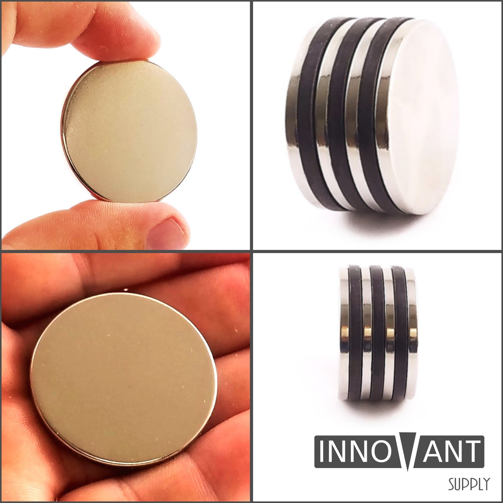INNOVANT 4 Pack Neodymium Disc Magnets 1 1/2'' d x 1/8'' h N45 Grade Strong Permanent Rare Earth Magnets - Best for DIY Arts & Crafts Projects, School Classroom Science Project & Office or Work Supply by Innovant Supply (Image #5)