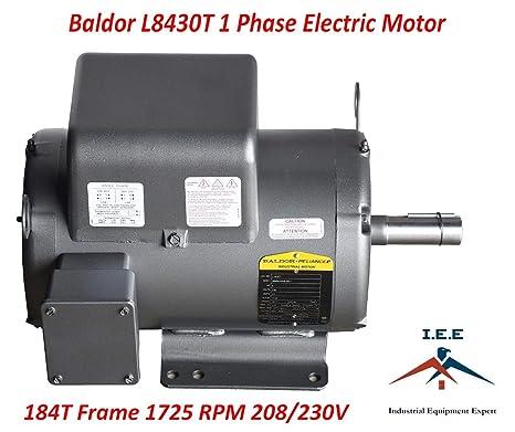 5 Hp Electric Motor >> 5 Hp 1 Phase Industrial Electric Motor 184t Frame Baldor L8430t 230 Volt