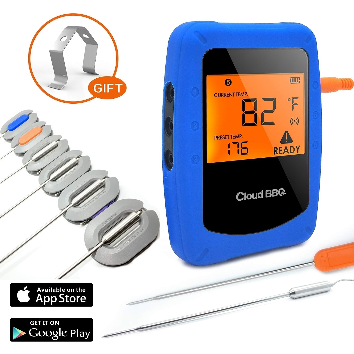 BossBee Wireless Bluetooth Meat Thermometer-Digital Thermometer for Cooking and BBQ |6 Stainless Steel Probes for Outdoor/Indoor Safe Oven Grill Kitchen Sensors |Smart Monitor for Reading Temperature