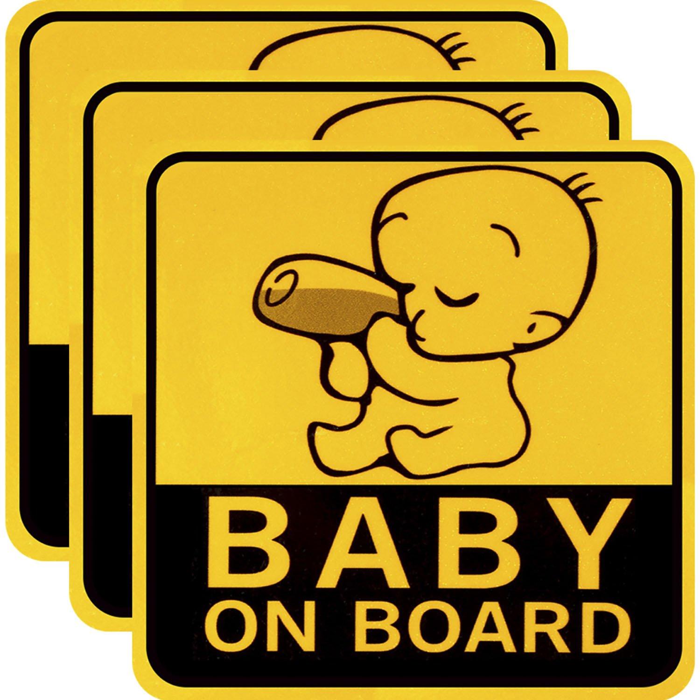 3 Stücke Baby an Bord Auto Aufkleber Reflektierende Magnetische Auto Aufkleber Sicherheit Vorsicht Zeichen für Neue Eltern und Baby Sumind