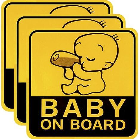 3 Piezas de Pegatina de Coche de Baby on Board Pegatina de Coche Magnética Reflexivo Señal de Precaución de Seguridad para Padres Nuevos y Bebés