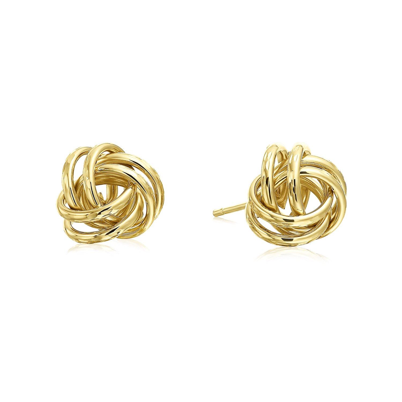 14k Yellow Gold Diamond-Cut Love Knot Stud Earrings