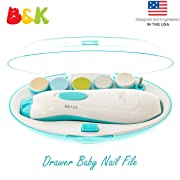 B&K Baby Nail Trimmer File with Light - Safe Electric Nail Clippers Kit for newborn baby boy girl, Infant Toddler Kids Toes and Fingernails - Care, Polish and Trim