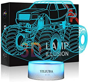 Bedtime 3D Night Lights for Kids Night Lamp Monster Trucks for Boys Poster Images 7 LED Colors Desk Bedroom Decoration, Cool Gifts Ideas Birthday Xmas (Monster Buggy)