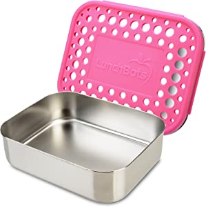 LunchBots Medium Uno Stainless Steel Sandwich Container - Open Design for Wraps - Salads or a Small Meal - Eco-Friendly - Dishwasher Safe and BPA-Free - Pink Dots