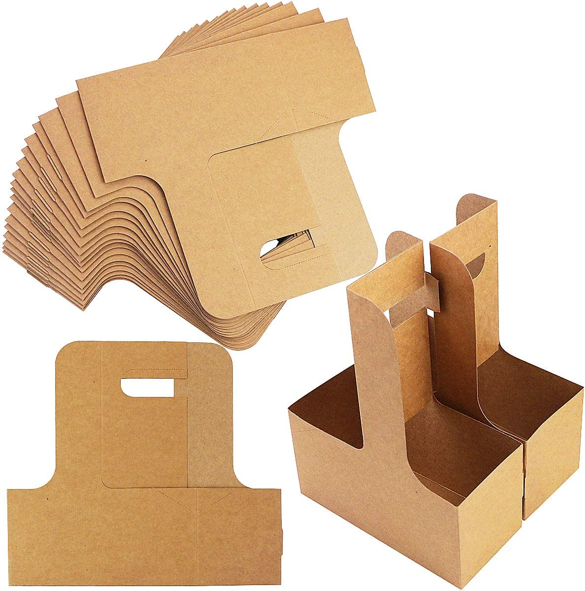 Pralb 20Pack 2 Cup Kraft Paperboard Small Drink Carrier with Convenient Handles,Professional Kraft Paperboard Drink Carrier with Handle, Hold 2 Cups,8.7