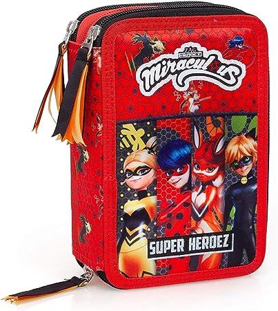 Miraculous Ladybug Caja de Lápices 3-fach Lleno Niña Estuche Cat Noir: Amazon.es: Oficina y papelería