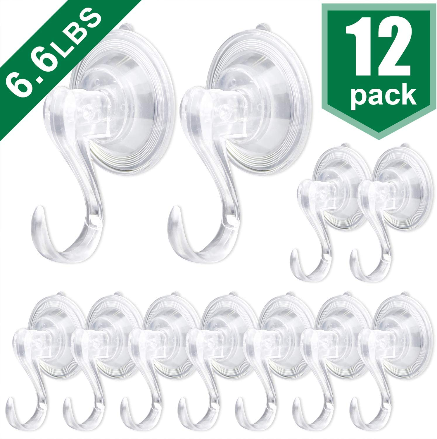AROIC Suction Cup Hook, Movable Heavy-Duty Vacuum Suction Cup, with a Maximum Load of 6.6 Pounds, Adsorbed in Windows, Kitchens and Bathrooms, Hanging Towels, Clothing, etc. - 12 Pieces.