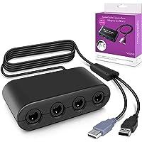 Keten Gamecube Controller Adapter, Adaptateur Manette Gamecube pour Super Smash Bros Adaptateur avec 4 Ports pour Wii U, Nintendo Switch et Ports USB pour PC (Noir)