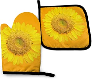 Sunflower Oven Mitts and Pot Holders Sets, 3D Cartoon Oven Mitts, New Cotton Heat-Resistant Hot-Proof Oven Gloves, Non-Slip Microwave Oven Gloves Baking Tool