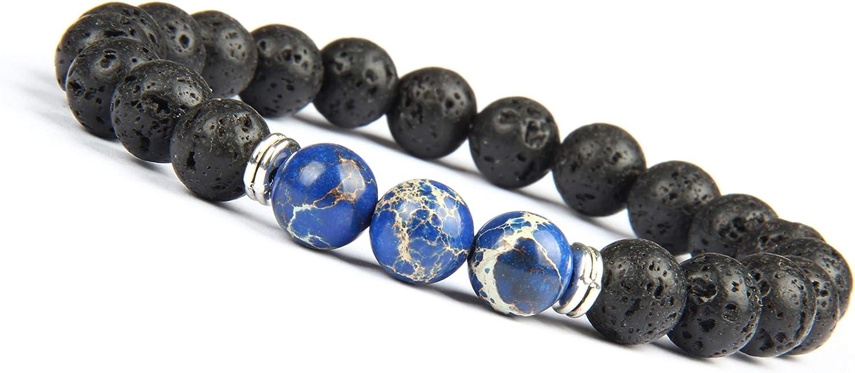 Good.Designs ® Pulsera de Perlas Chakra Fabricada de ónix y Piedra volcánica (Pulsera de Yoga) Pulsera de energía Negra con Colorida Perla de Jaspe para Damas y Caballeros (Mundo - Azul)