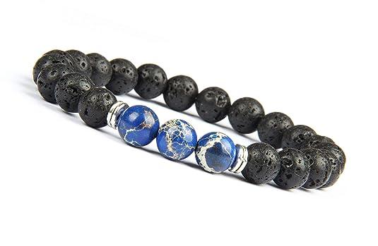 GD GOOD.designs EST. 2015 ® Energiearmband mit marmorierten Perlen Chakra Armband aus Lavastein Naturperlen