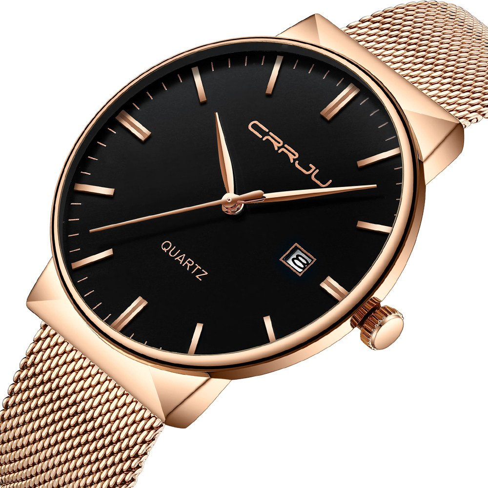 CRRJU Rose Gold Elegant Luxury Men Gift Watches,Men's Stylish Minimalist Quartz Date Wristwatch