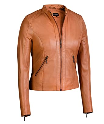 dependable performance amazon beautiful style Women's Moto Jacket in Cognac from Soft Genuine Lambskin Leather (Large,  Cognac)