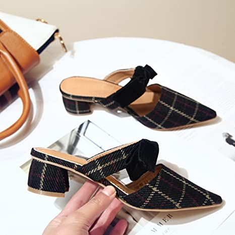 GAOLIM Baotou Mitad Zapatillas Mujeres Zapatos De Mujer Vestidos De Verano Zapatos De Mujer Señaló con