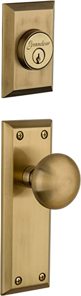 Grandeur Fifth Avenue Plate With Fifth Avenue Knob And Matching Deadbolt Complete Single Cylinder Combo Pack Set Vintage Brass Doorknobs Amazon Com