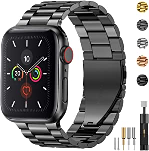 Fitlink Stainless Steel Metal Band for Apple Watch 38/40/42/44mm Strap Replacement Link Bracelet Band Compatible with Apple Watch Series 6 Apple Watch Series 5 Apple Watch Series 1/2/3/4(Grey,42/44mm)