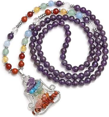Jovivi 108 Mala Prayer Beads Necklace,Natural Tubmled Gemstone Yoga Charm Pendant Mala Prayer Beads 7 Chakras Healing Crystal Stones Necklace for ...