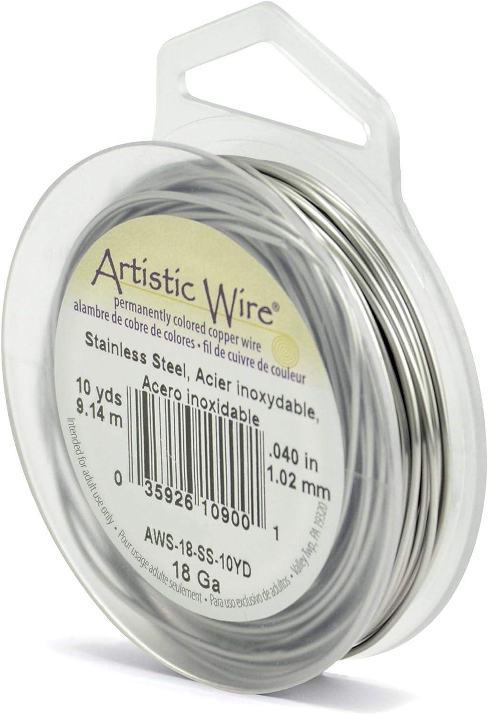 1 Pack Gl/änzender Stahl Beadalon Artistic 10 yd 9.1 m 18 Gauge Craft Wire Stainless Steel Basteldraht