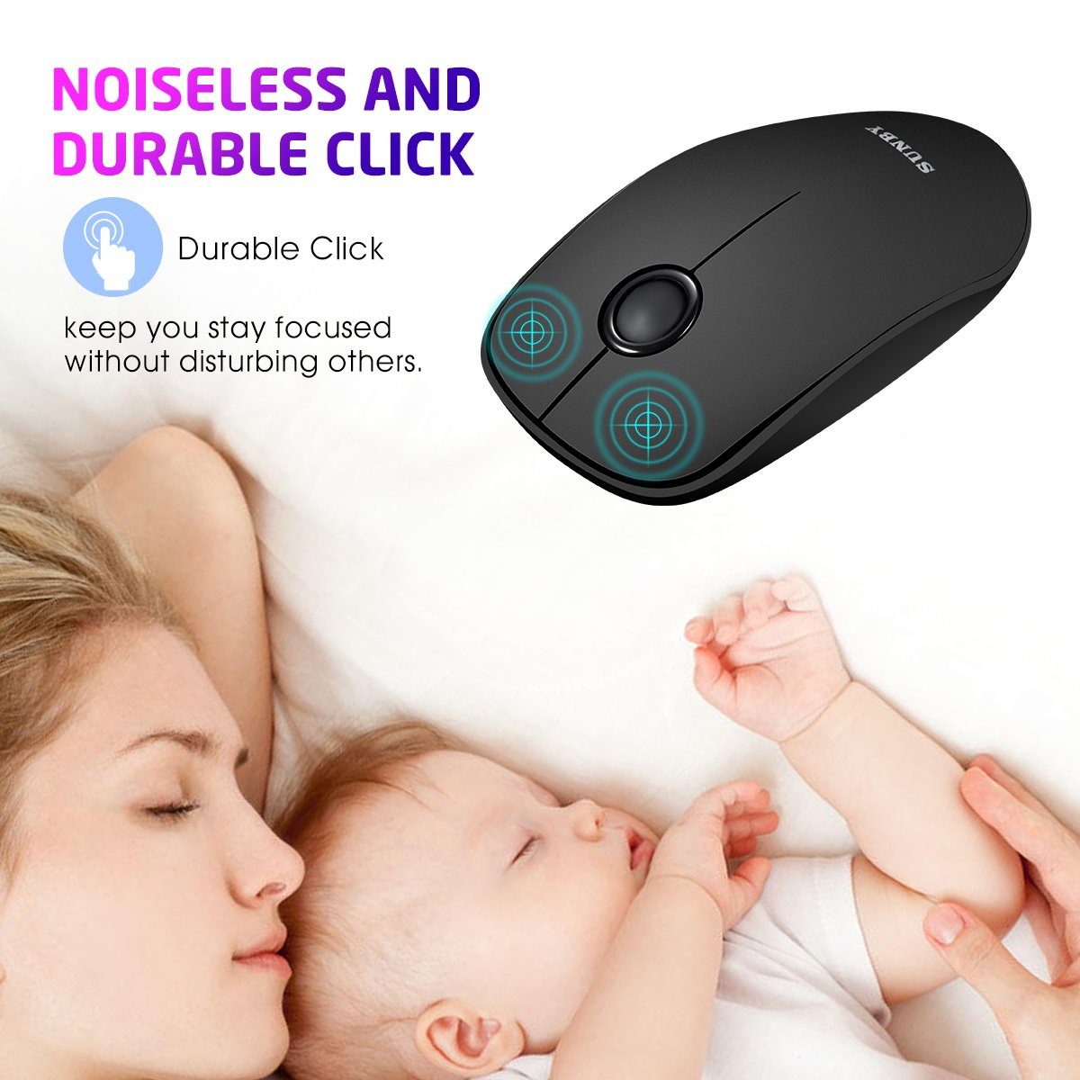 Slim Wireless Mouse,2.4G Ultra Thin Computer Mouse With Nano Receiver, Noiseless and Silent Click ,Travel Portable Mice for Laptop,Mac,Notebook,PC and Tablet (1 Battery For Bonus)