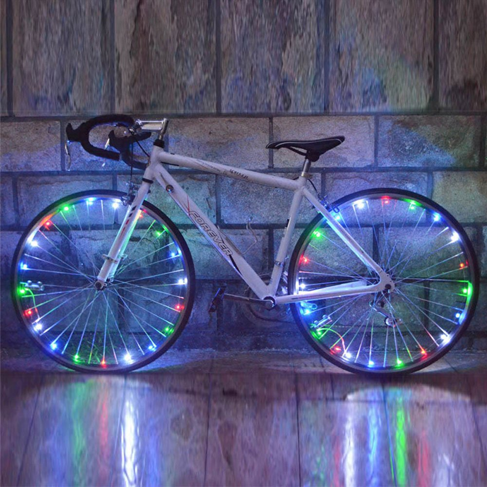 Bike Wheel Light, Ultra Bright LED Bicycle Tire Accessories Cycling Spoke Light String Waterproof - 2 Pack (Multicolor)