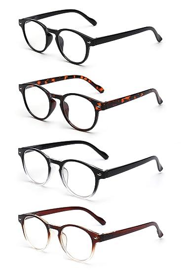 2384a6602a0 Image Unavailable. Image not available for. Color  JM 4 Pack Spring Hinge  Reading Glasses Vintage Round Glasses for Reader Men Women ...